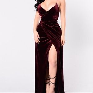 Burgundy gown with slit